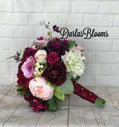 Burgunder-Wein-Brautblumenstrauß, Hochzeitsblumenstrauß, Pflaumen-Burgunder-Seidenblumen   – Blumenstrauß hochzeit