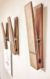 Large Rustic 9″ Decorative Clothespin in dark walnut finish – office home bathroom nursery laundry wall decor note photo holder x-mas gift