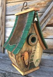 Unique Copper and Wood Barn Art Birdhouse Recovered Holiday Wedding Gift # 1840