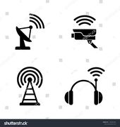 Radio Wireless Technology. Simple Related Vector Icons Set for Video, Mobile Apps, Web Sites, Print Projects and Your Design. Radio Wireless Technolog…