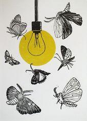 Moth linoleum print on paper & # 39; Drawn to the light & # 39; Series #diytattooimages