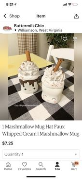 Faux Whipped Cream Marshmallow Mug Toppers
