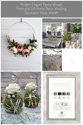 Wall Decor. #Dekoration silber Modern Elegant Peony Wreath Minimalist Gift Home …