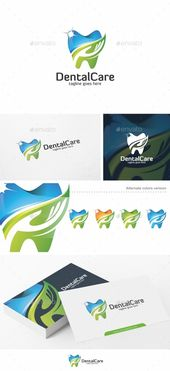 Plantilla de logotipo de cuidado dental / dientes – Vector EPS #hospital #healthcare • Avai …   – Logo Template 2017