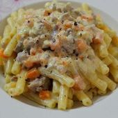 Sedanini Rigati con panna, zucca e salsiccia / Sedanini Rigati with cream, pumpk…