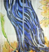 Hand painted silk curtain: Blue Stem