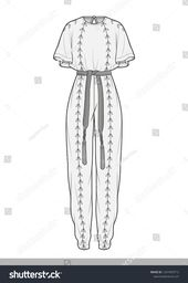 Jump suit fashion flat technical drawing template  www.etsy.com/...