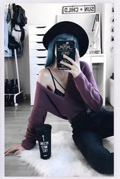 Dark eggplant sweater with black pants black hat. #kawaiigoth #gothicfashion #cu… – f a s h i o n