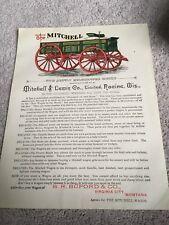 Vintage Mitchell Wagon Letterhead Flyer 1880s Racine Wisconsin