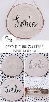 DIY Deko mit Holzscheibe – eine kreative Wanddeko zum Nachmachen – Ideen von Boho and Nordic