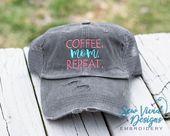Kaffee Mama wiederholen Hut | Distressed Baseball Cap oder Pferdeschwanz Hut | Kaffeeliebhaber Geschenk | Mutter Leben | Gi   – Products