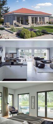 Moderner Bungalow mit Walmdacharchitektur und modernem Interieur, offene Küche ….   – Anbau Walmdach
