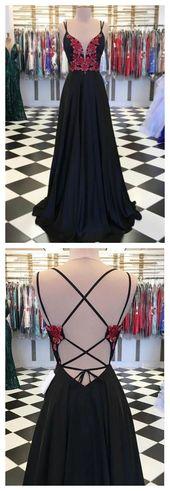 Neue kommende schwarze Spitze Applique Satin langes Abendkleid, schwarzes Abendkleid ae328