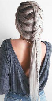 Coole Flechtfrisur für lange Haare. #zopffrisur #zopf #frisur #flechten #flecht… – Zopffrisuren <3