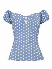 Collectif Dolores 50s Style Black and White Polka Dot Gypsy Top