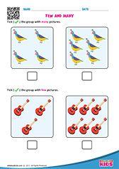 Few And Many Kindergarten Worksheets Math Printables Kindergarten