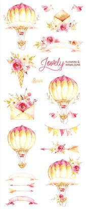 Schöne Blumen & Luftballons. Aquarell Clipart, Pfingstrosen, Pfeile, Banner, Umschläge, Blumensträuße, Valentinstag, Hochzeit, Blumen, einladen, diy   – Heft +noch viel mehr