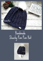 Handmade Women's Chunky Pom Pom Hat Ribbed Beanie Heather Navy Blue Wool Blend Beanie – Moomettes Crochet Shop