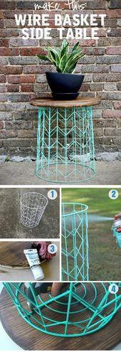 Beistelltisch aus einem Drahtkorb – eine 20-minütige DIY-Idee
