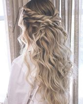 Blown away with these 57 Beautiful Messy wedding hair ,Twisted half up/half down, half up half down bridal hairstyles #weddinghair #weddingupdo #weddi...