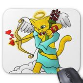 Valentine's Day Ginger Yellow Cupid Cat Mouse Pad   Zazzle.com