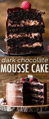 Diese dunkle Schokoladenmousse-Torte kombiniert sa…