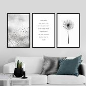 Feelings Are Like Waves Inspirational Quotes Black and White Canvas Wall Art For Meditation Yoga Room Bedroom Living Room Modern Home Decor