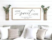 Home sweet home sign | wood framed sign | home wall decor | farmhouse wall decor | home sign | family name sign