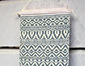 Handloomed, pattern woven wall hanging room decor. Small blue and white weft face Rosepath pattern. Handwoven wall art. 7.5″ by 22″ tall