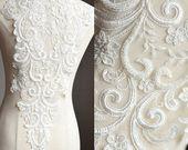 GROßE schwere Perlen Braut Applique - Elfenbein - Venedig Spitze Perlen Applique ...