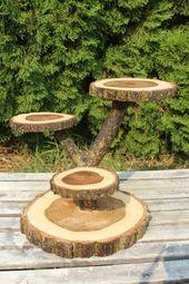 Grand journal orme bois rustique gâteau Cupcake Stand mariage partie douche en bois 4 niveaux, bûcheron, parti boho, Maximonstres, bord direct