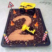 Geburtstag des Bagger-Kuchens (Aufbau-Kuchen) – Nestling   – Blechkuchen für Kinder Geburtstag