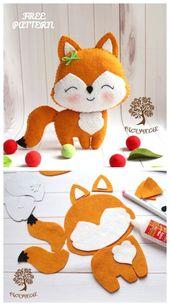 DIY Cute Felt Fox Toy Free Sewing Patterns