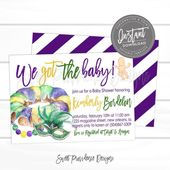 Mardi Gras Baby Shower Invitation, Editable Baby Shower template, We got the Baby shower invite, King Cake baby,  Instant Access