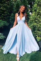 Einfache V-Ausschnitt blau langes Abendkleid, blaue Brautjungfernkleider