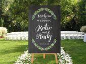 Greenery Wedding Welcome Sign, Printable Chalkboard Sign, DIGITAL Greenery Botanical Leaves Welcome Sign, Welcome To Our wedding Garden