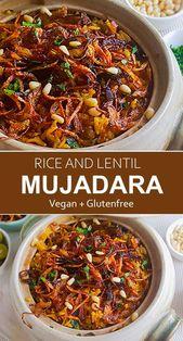 Mujadara ist ein köstlich einfaches Gericht aus dem Nahen Osten mit Reis und Linsen …