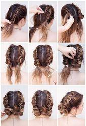 kurze, braune haare, hübsche hochsteckfrisur, flechtfrisur – hair & make up