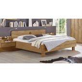 Schlafzimmer in Polar-Lärche-Nachbildung, Bettbrücke, Komfortbett mit Liegefläche ca. 180×200 cm, Ec