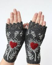 Valentine's Day Gloves With Heart, Knitted Fingerless Gloves, Gloves With Heart, Embroidered Mittens, Grey And Red, Gifts For Women, Gray