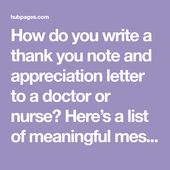 How To Write Thank You Notes For Doctors And Nurses Appreciation