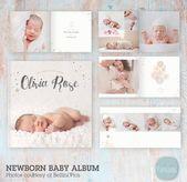 Baby-Fotoalbum, Vorlage, Neugeborenen-Fotografie, Neugeborenen-Album, Neugeborenen-Vorlage …   – Baby Album Ideas