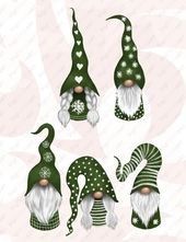 Scandinavian Christmas Gnomes Clipart Bundle, Nordic Gnomes Clip Art, Tomte Graphic Decoration, Christmas PNG Design Elements