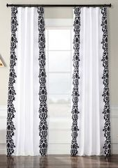 Exclusive Fabrics & Furnishings Castle Flocked Faux Silk Curtain – White – 50 In X 120 In
