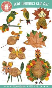 Distinctive autumn clip artwork set of googly-eyed whimsical animals, made with actual leav…