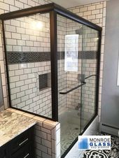 Corner Tub Matte Black Kneewall Buttress Panel Semi Frameless Towel Bars Centec Shower Door Subway Tiles Framed Shower Door Shower Doors Framed Shower