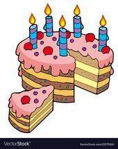 Karikatur Geschnittener Geburtstagskuchen Vector Illustration