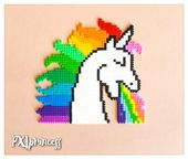 Rainbow Puking Unicorn pixel art magnet Perler Hama beads unicorn home decor whiteboard office decor 8bit Kawaii Unicorn gift