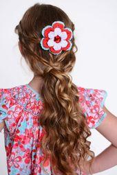 Blume Haarspange Aqua blau rot weiß Häkelblume französische Haarspange für Babys Babys Kleinkinder b