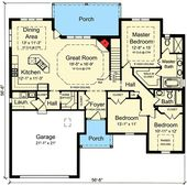 One-Level 3 Bedroom Home Plan